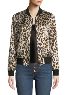 Alice + Olivia Lonnie Reversible Silk Bomber Jacket