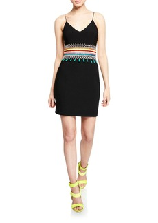 Alice + Olivia Loralee Embroidered Open-Back Fitted Dress