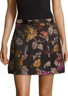 Alice + Olivia Loran Embroidered A-Line Skirt