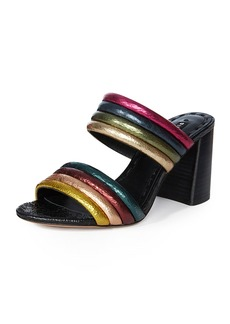 Alice + Olivia Lori Metallic Colorblock Slide Sandals