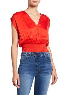 Alice + Olivia Lorretta Smocked Sleeveless Silk Satin Crop Top