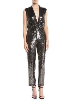 Alice + Olivia Lyle Sleeveless Sequin Jumpsuit