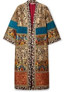 Alice + Olivia Lynn Leopard-print Cotton-trimmed Jacquard Kimono