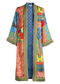 Alice + Olivia Lynn Printed Side Slit Long Kimono