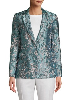 Alice + Olivia Macey Embroidered Floral Blazer