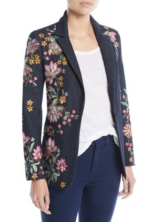 Alice + Olivia Macey Embroidered Notch-Collar Blazer