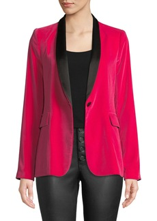 Alice + Olivia Macey Fitted Strong-Shoulder Tuxedo Blazer