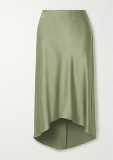 Alice + Olivia Maeve Asymmetric Hammered-satin Midi Skirt
