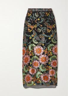 Alice + Olivia Maive Printed Devoré-satin Midi Skirt