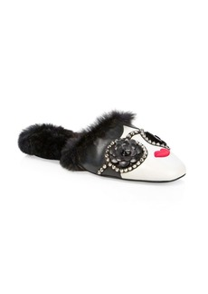 Alice + Olivia Maja Faux Fur-Lined Leather Slippers