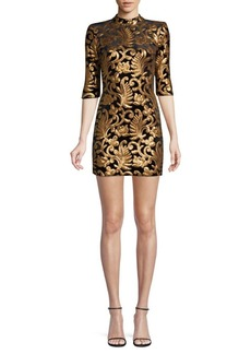 Alice + Olivia Malin Patchwork Jacquard A-Line Mini Dress
