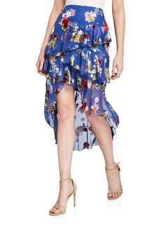 Alice + Olivia Mariel Asymmetrical Ruffle High-Low Skirt