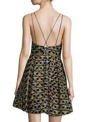 Alice + Olivia Marilla Damask Embroidered V-Neck Fit & Flare Dress