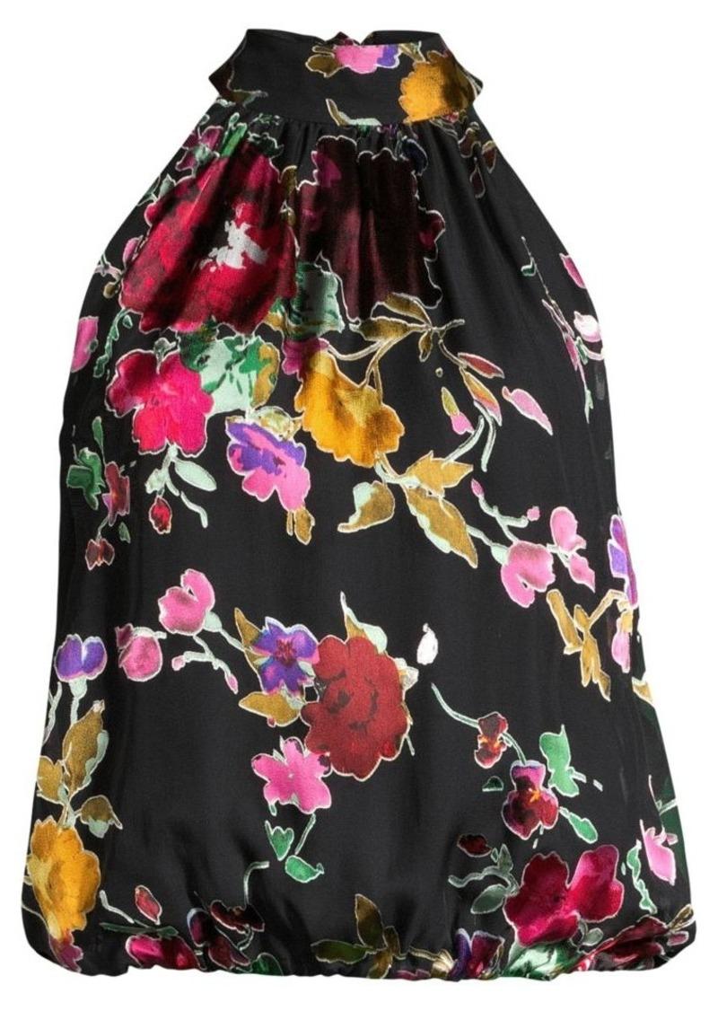 Alice + Olivia Maris Floral Stretch-Silk Halter Top