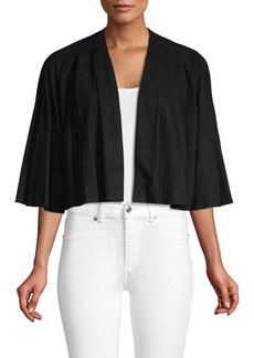 Alice + Olivia Marjory Suede Pleated Cardigan