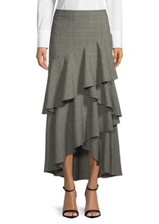 Alice + Olivia Martina Plaid Asymmetrical Skirt