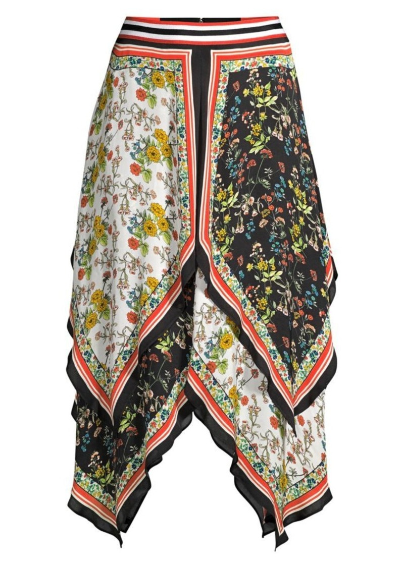 Alice + Olivia Maura Tiered Handkerchief Hem Skirt
