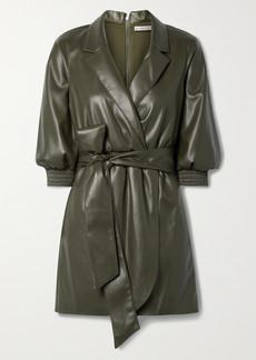 Alice + Olivia Maureen Wrap-effect Belted Vegan Leather Mini Dress