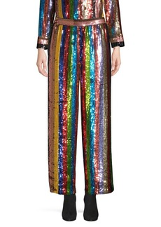 Alice + Olivia Meera Sequin Striped Pants