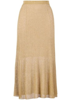 Alice + Olivia metallic midi skirt