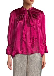 Alice + Olivia Metallic Striped Bell-Sleeve Top