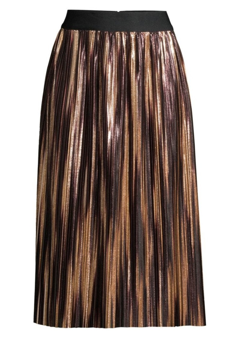 Alice + Olivia Mikaela Metallic Pleated Midi Skirt