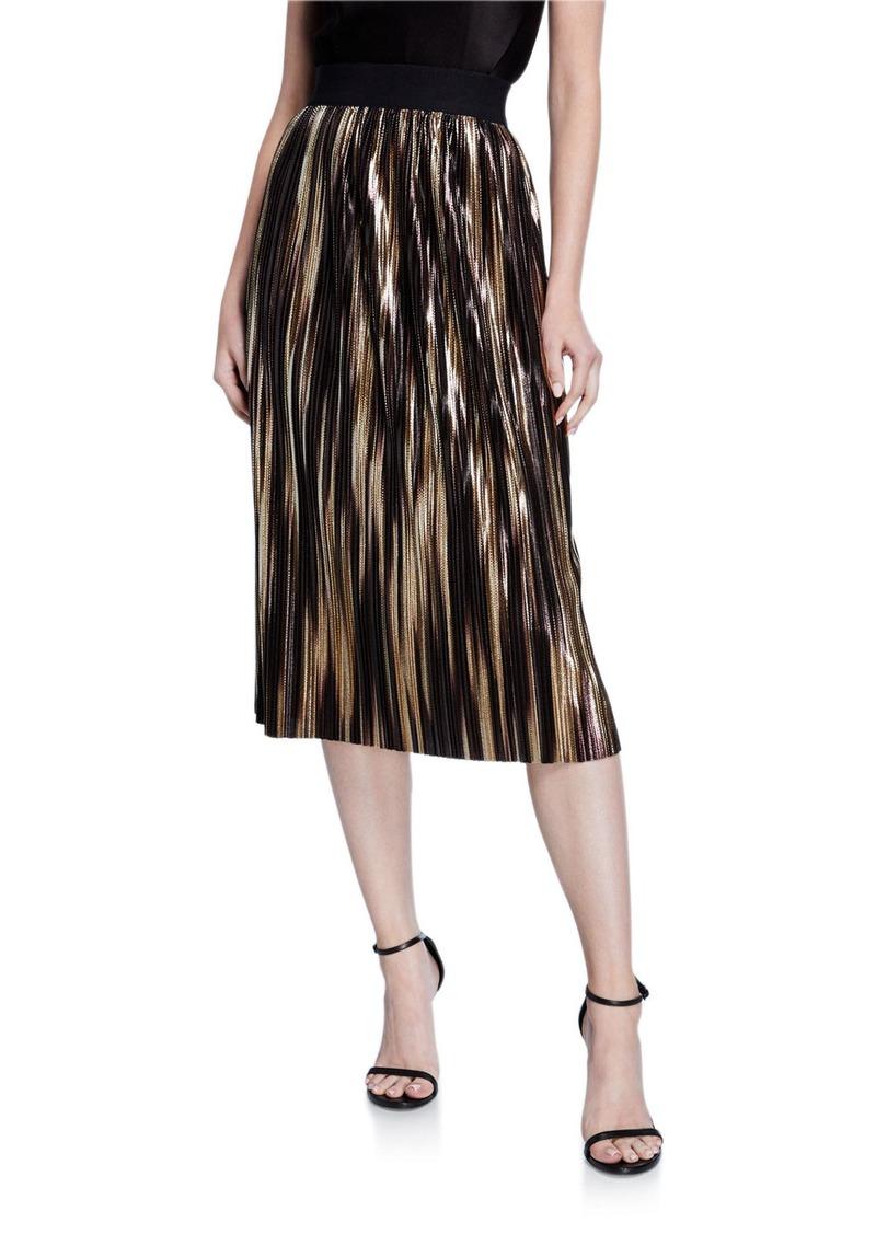 Alice + Olivia Mikaela Pleated Metallic Stripe Midi Skirt