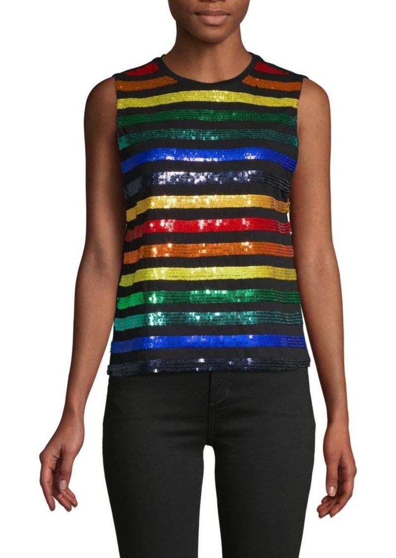 Alice + Olivia Miller Rainbow Sequin Boyfriend Tank