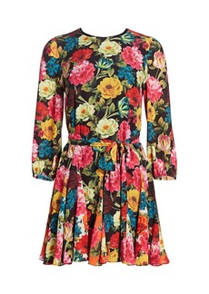 Alice + Olivia Mina Floral Godet Dress