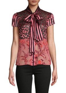 Alice + Olivia Mixed-Print Silk-Blend Top