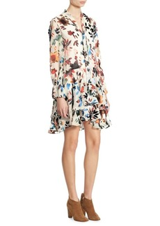 Alice + Olivia Moore Devoré Tiered Bell Sleeves Tunic Dress