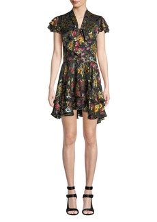 Alice + Olivia Moore Tie V-Neck Cap-Sleeve Layered Floral-Print Velvet Mini Dress