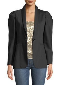 Alice + Olivia Morina Puff-Sleeve Single-Button Blazer