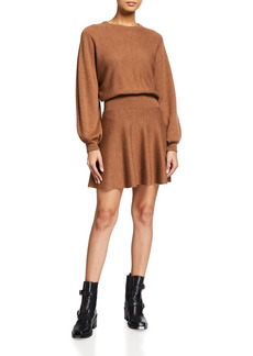 Alice + Olivia Murray Blouson-Sleeve Fit-and-Flare Dress