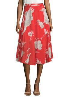 Alice + Olivia Nanette Silk Floral Midi Skirt