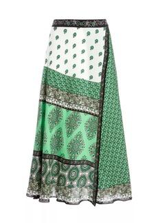 Alice + Olivia Nanette Tapestry Wrap Midi Skirt