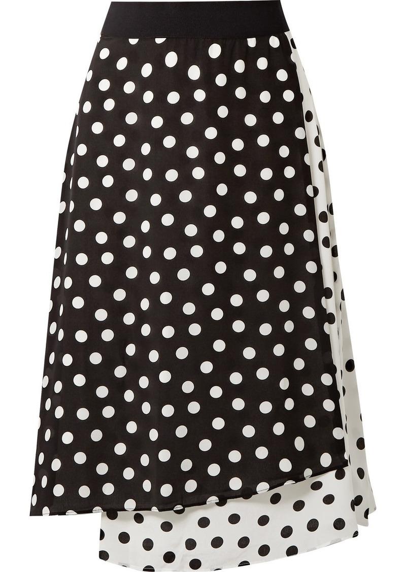 Alice + Olivia Nanette Wrap-effect Polka-dot Silk Crepe De Chine Midi Skirt