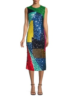 Alice + Olivia Nat Embellished Fitted Dress