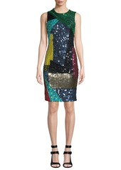 Alice + Olivia Nat Embellished Mid-Length Fitted Dress