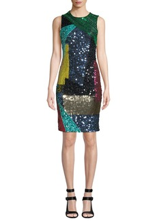 Alice + Olivia Nat Embellished Mid-Length Fitted Dress