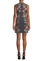 Alice + Olivia Nat Embroidered Cotton-Stretch Mini Cocktail Dress