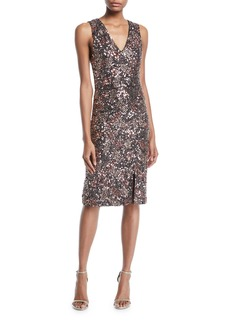Alice + Olivia Natalie Embellished V-Neck Midi Dress w/ Slit