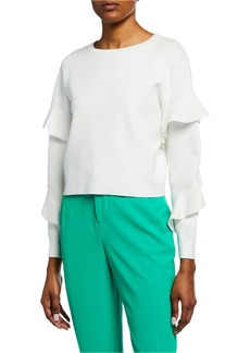 Alice + Olivia Nettie Ruffle-Sleeve Crewneck Sweater