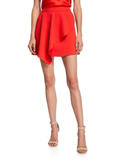 Alice + Olivia Nicky Asymmetric Draped Mini Skirt