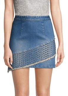 Alice + Olivia Nicole Studded Denim Fringe Skirt