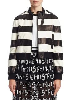 Alice + Olivia Nixon Striped Leather Jacket