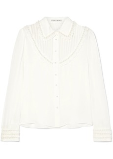 Alice + Olivia Noreen Embellished Ruffled Silk-chiffon Blouse