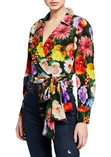 Alice + Olivia Omega Floral-Print Blouson-Sleeve Wrap Top