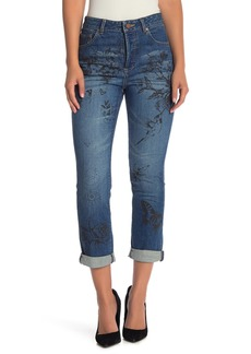 Alice + Olivia Painted High Rise Girlfriend Slim Jeans