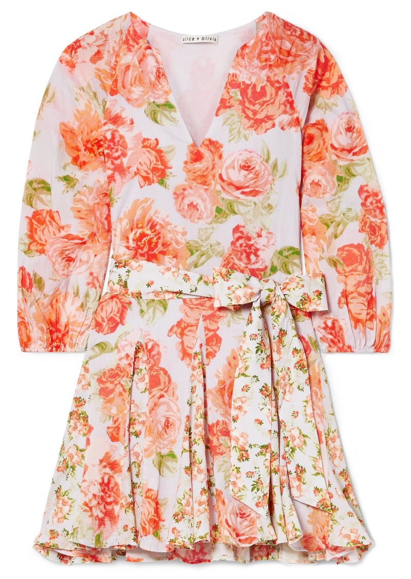 Alice + Olivia Pali Belted Floral-print Cotton-voile Mini Dress